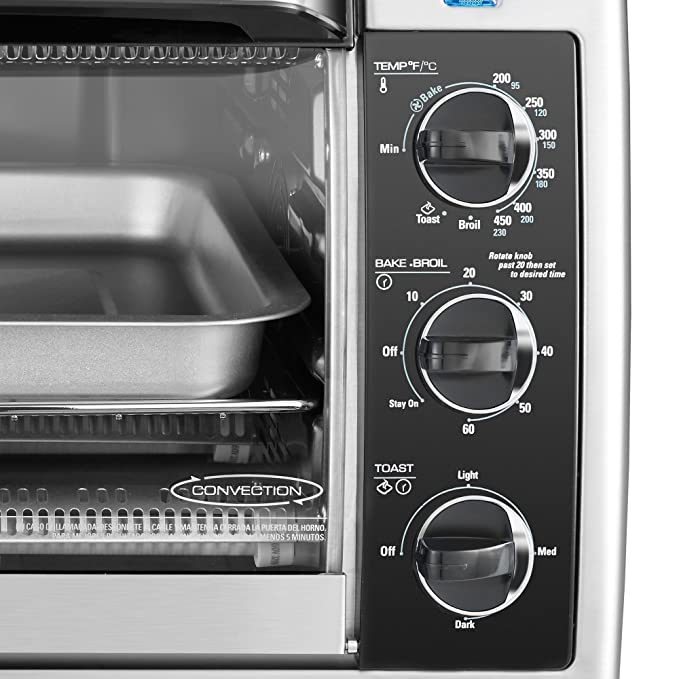 Amazon.com: BLACK+DECKER TO1660B 6-Slice Convection Countertop Toaster Oven, Includes Bake Pan, Broil Rack & Toasting Rack, Stainless Steel/Black Convection ...