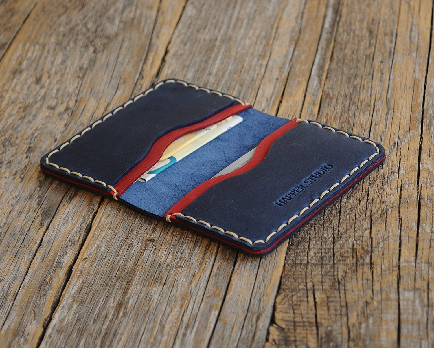 Personalised Leather Wallet. Blue and Red Credit Card, Cash or ID Holder. Rustic Style Unisex Pouch. Monogram your Name or Initials