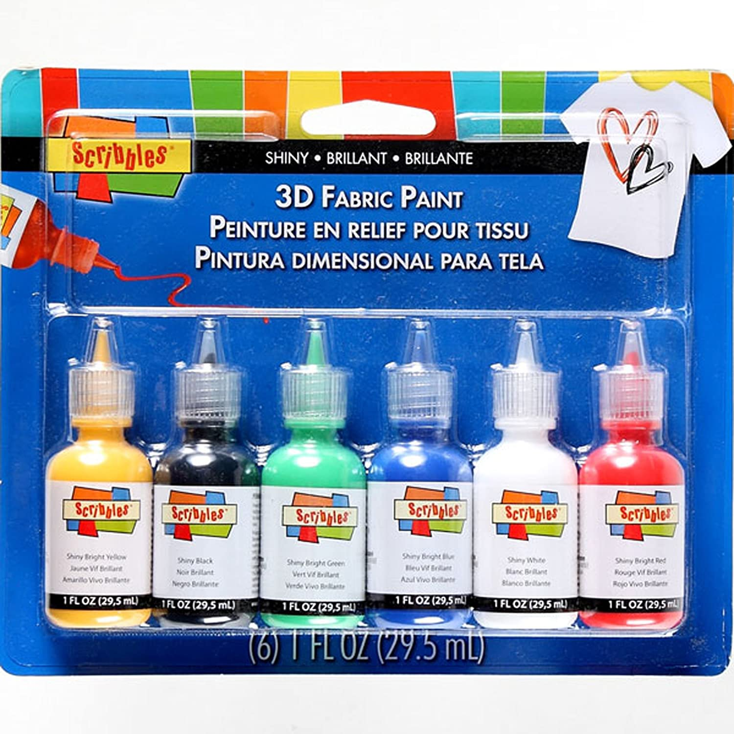 Scribbles 18534 Dimensional Fabric Paint, Shiny, 6-Pack I Love To Create