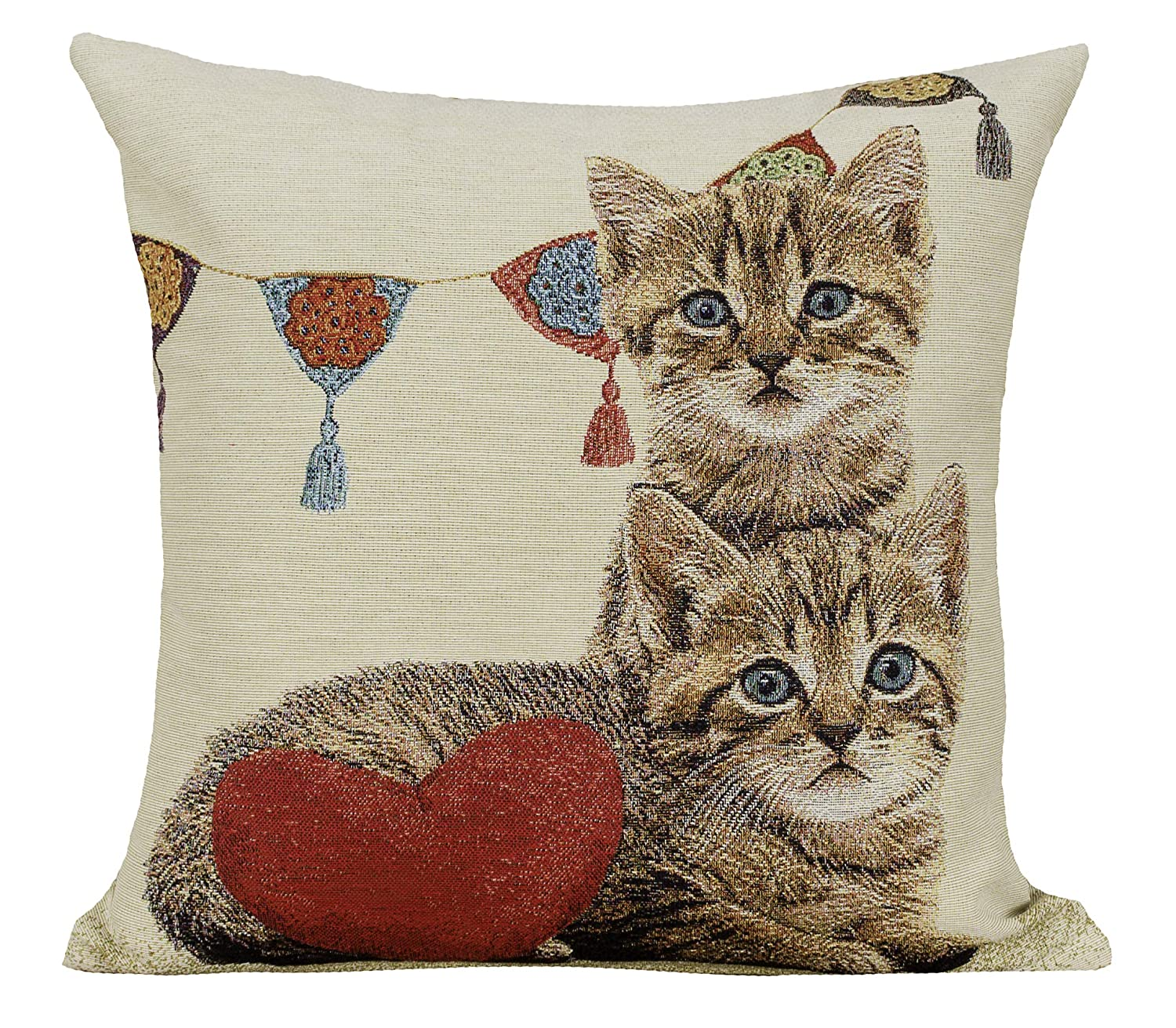 Astonishing Amber Textile Cat Tapestry Throw Pillow Covers Cases Decorative Cushion Covers Pillowcase Cushion Case For Sofa Couch 18 X18 Inches Two Cats Heart Pabps2019 Chair Design Images Pabps2019Com