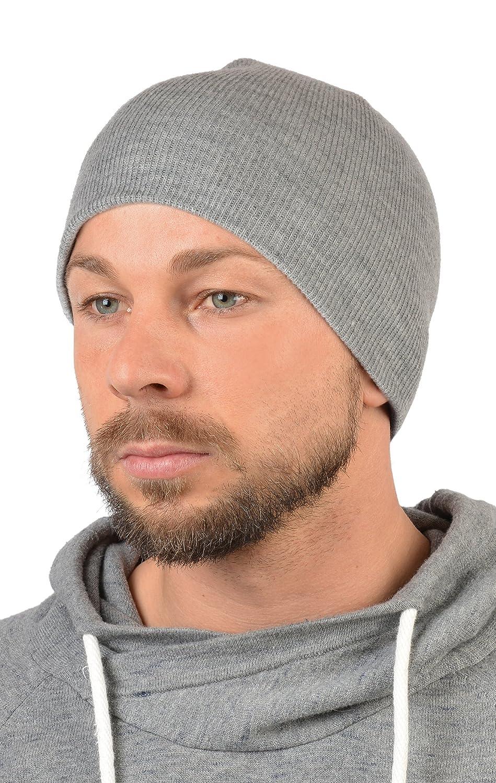 Herren Strickmütze - doppellagig ohne Umschlag, Skimütze, Wintermütze in grau