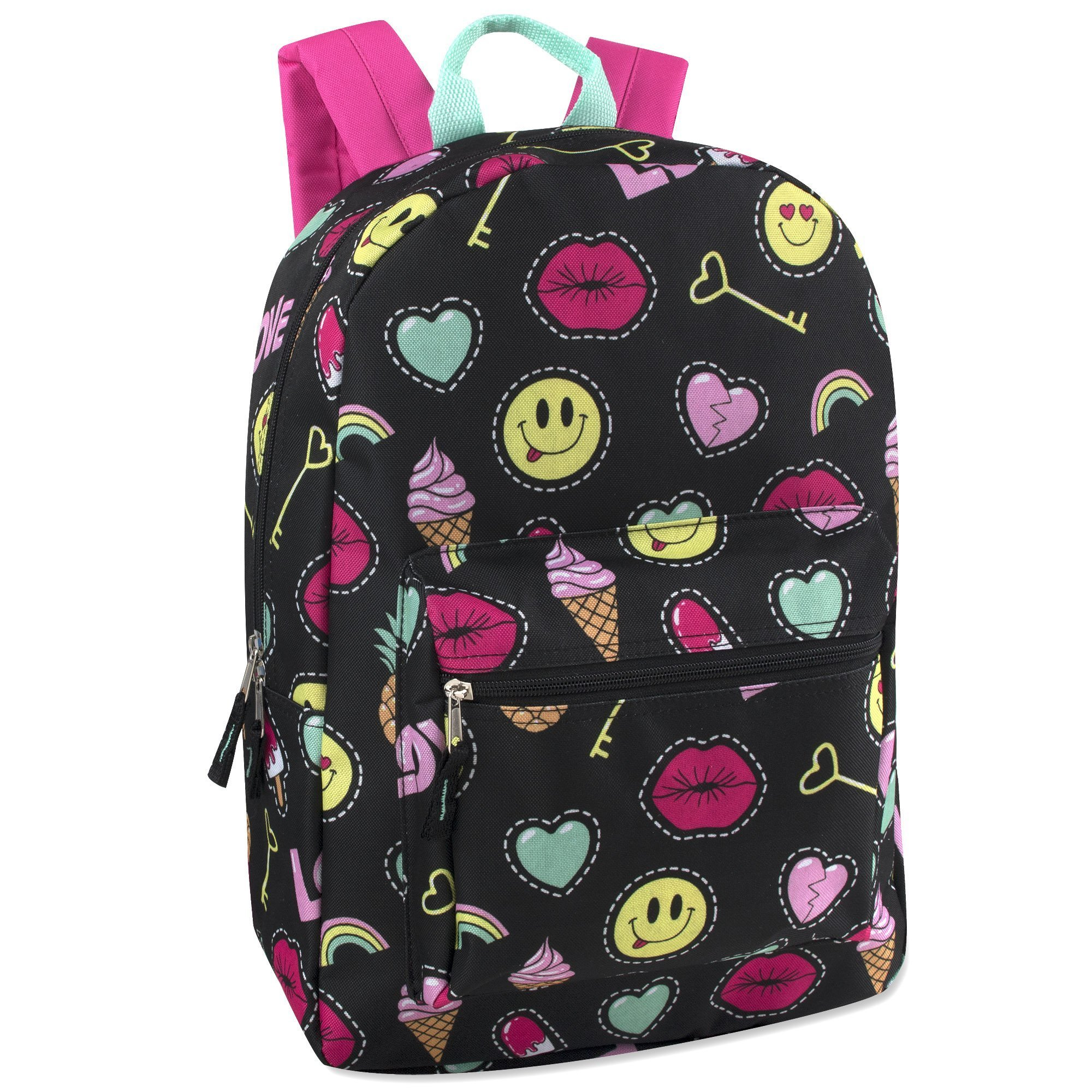 Trailmaker Girls' All Over Printed Backpack 17 Inch With Padded Straps (Emoji)