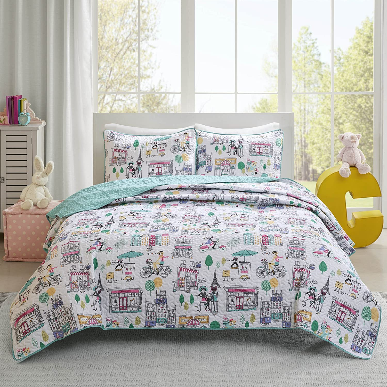 Comfort Spaces Girls//Boys Bedding Full//Queen Size Cats Aqua All Season Eiffel Tower 3 Piece Cute Toddler//Kids Mini Quilt Set Hypoallergenic Microfiber Paco