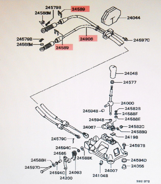 Genuine Mitsubishi Manual Transmission Shift Cable MR357824 Eclipse 2.4L /& 3.0L Engines 2000 2001 2002 2003 2004 2005