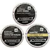 30 Pack - Starbucks Variety Coffee K-Cup Featuring 3 Dark Roast for Keurig Brewers – French Roast, Sumatra, Caffe Verona