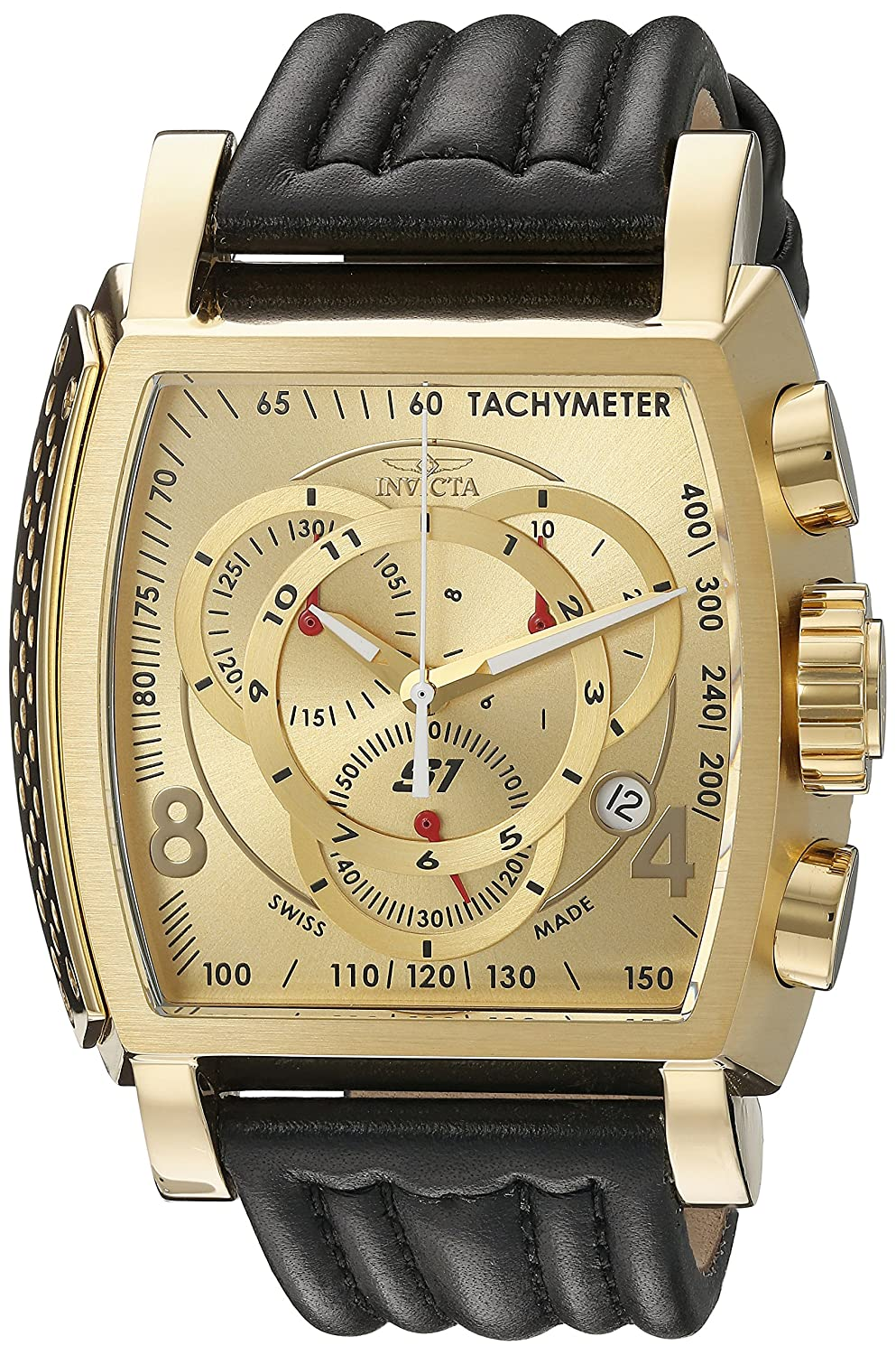 Invicta Men s 20241 S1 Rally 18k Ion-Plated Stainless Steel Watch with Black Leather Band