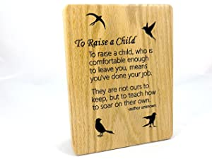Inspirational Child Plaque, Raise A Child, Oak Wood, CNC Engraved Sign, Birds, Office Decorations, Home Décor, 7 x 9, Great Gift Idea!