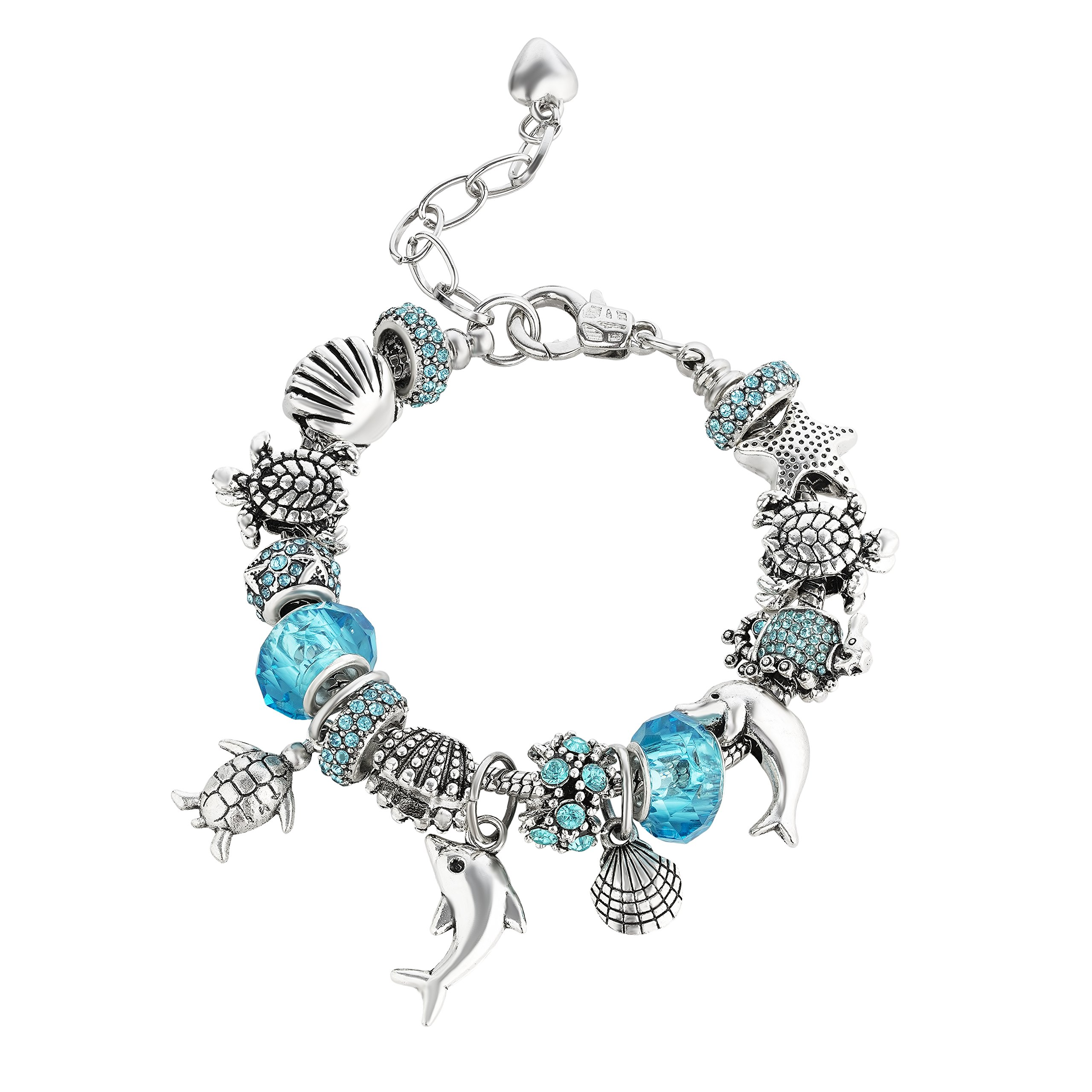 Majesto Blue Dolphin Turtle Beaded Charm Bracelets for Teen Girls Women Gifts Adjustable Fits 6-8.5 inch