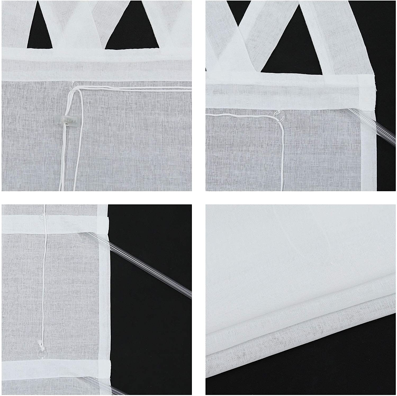 Blanc. Joyswahl Store bateau semi-transparent avec passants en V BxH 140x140cm Polyester