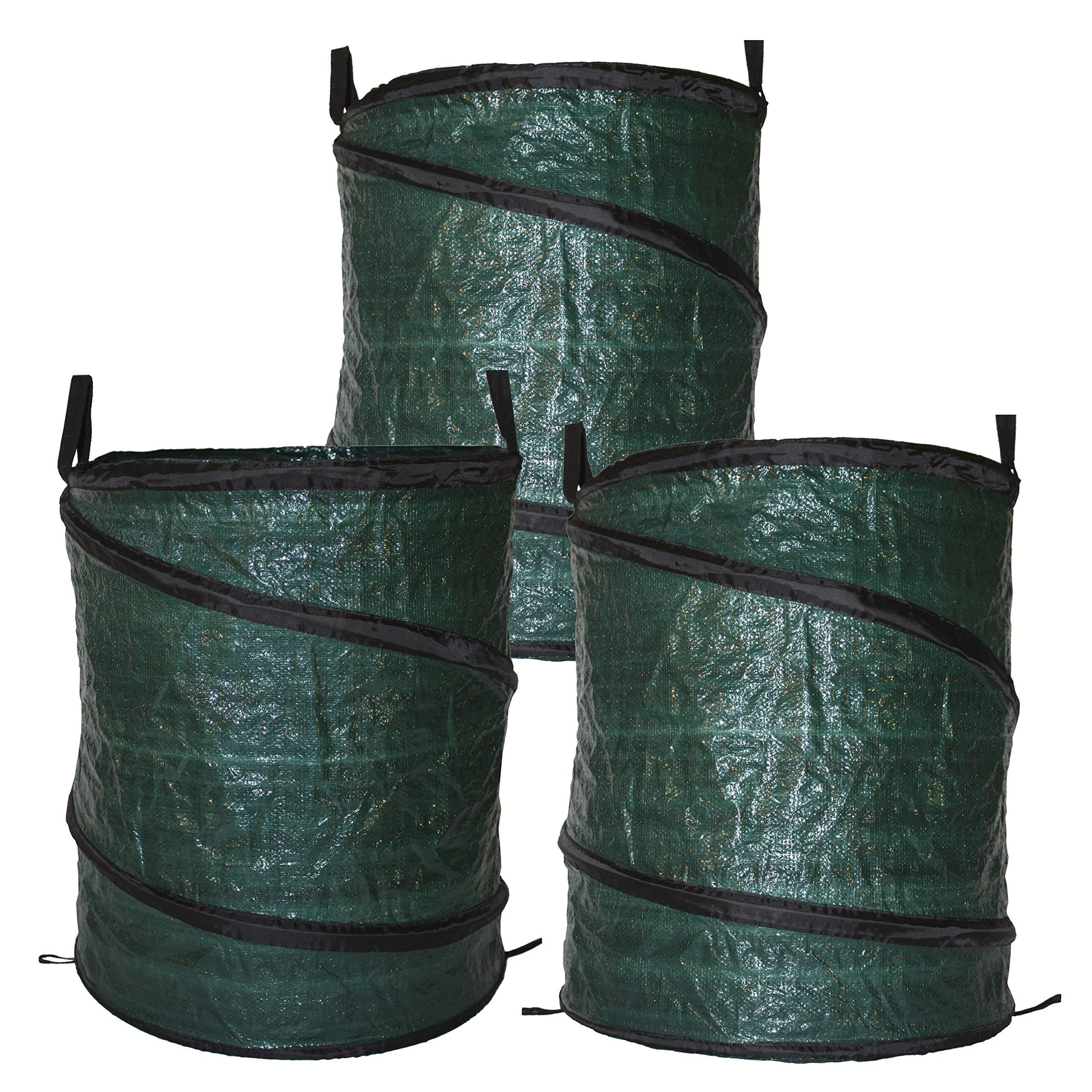 Bloem BAG3PK30G Collapsible Reusable 30 Gallon Pop Up Lawn Garden Leaf Bag 3-Pack, Green by Bloem