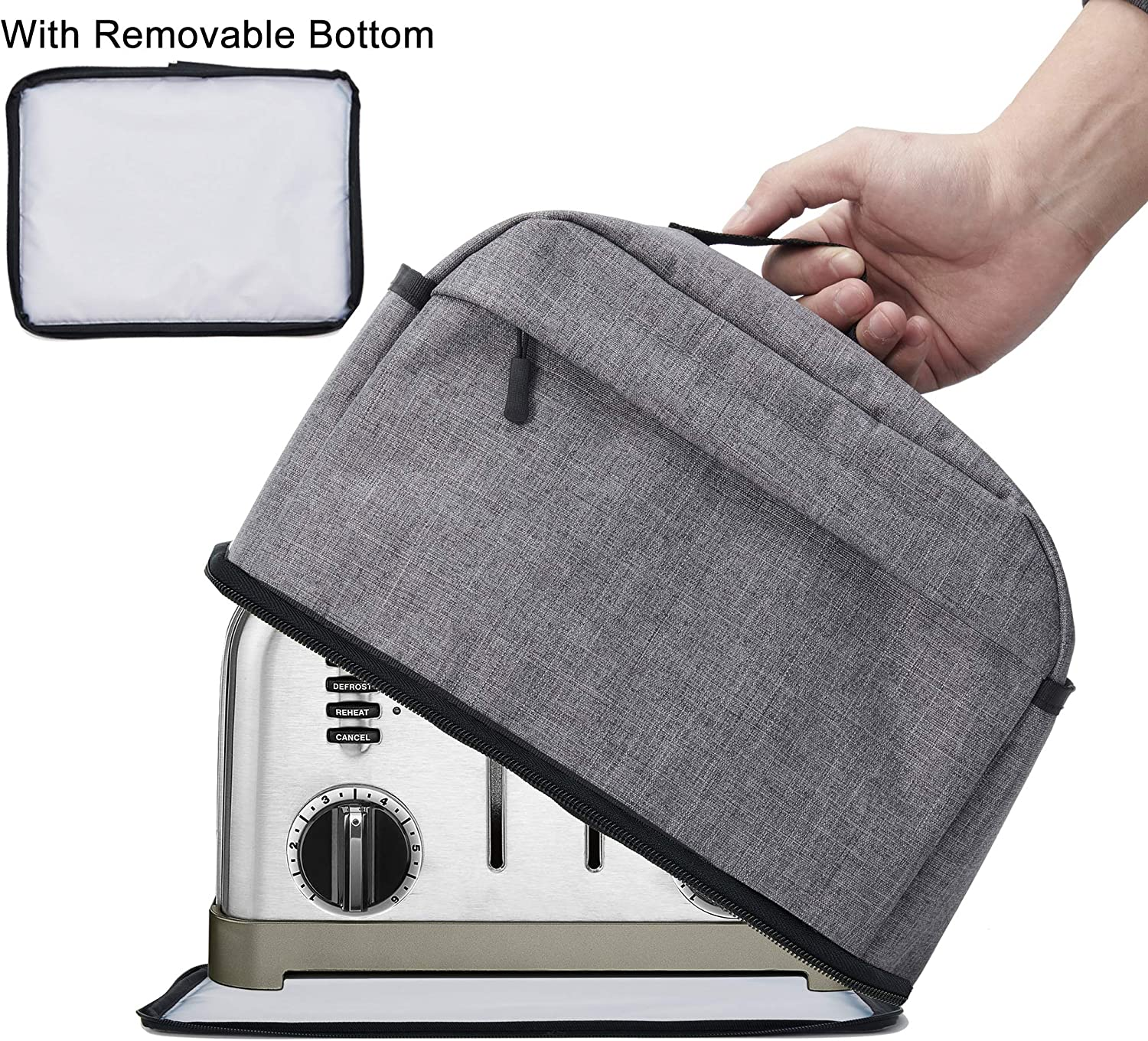 BGD-DG 4 Slice Toaster Cover with Removable Bottom 2-in-1 Toaster Bag with Zipper & Open Pockets Toaster Storage Bag with Handle, Dust and Fingerprint Protection, Machine Washable, Gray