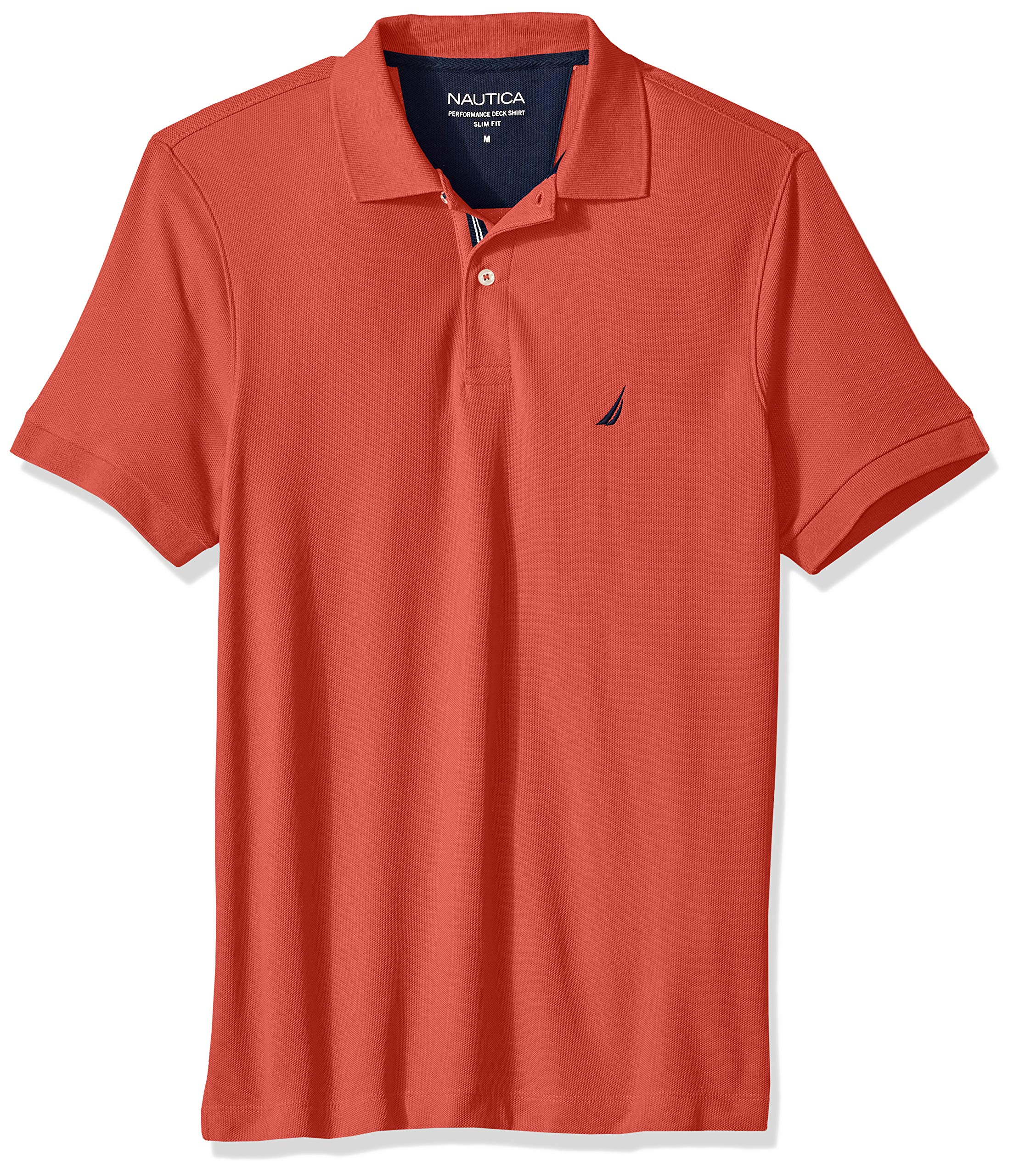 Nautica Men's Slim Fit Short Sleeve Solid Polo Shirt, Sunbaked Red, X-Large