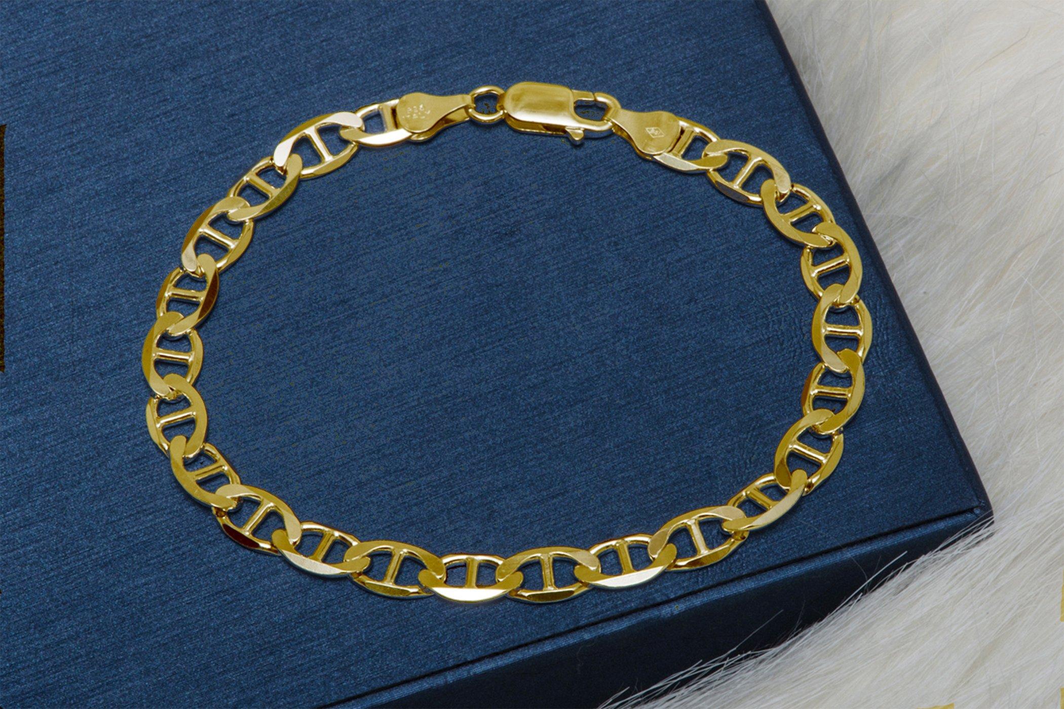 "925 Italian Sterling Silver Gold Mariner Link Chain 4.5mm Bracelet - Fine Jewelry For Men Women (8"") by Pori Jewelers (Image #2)"