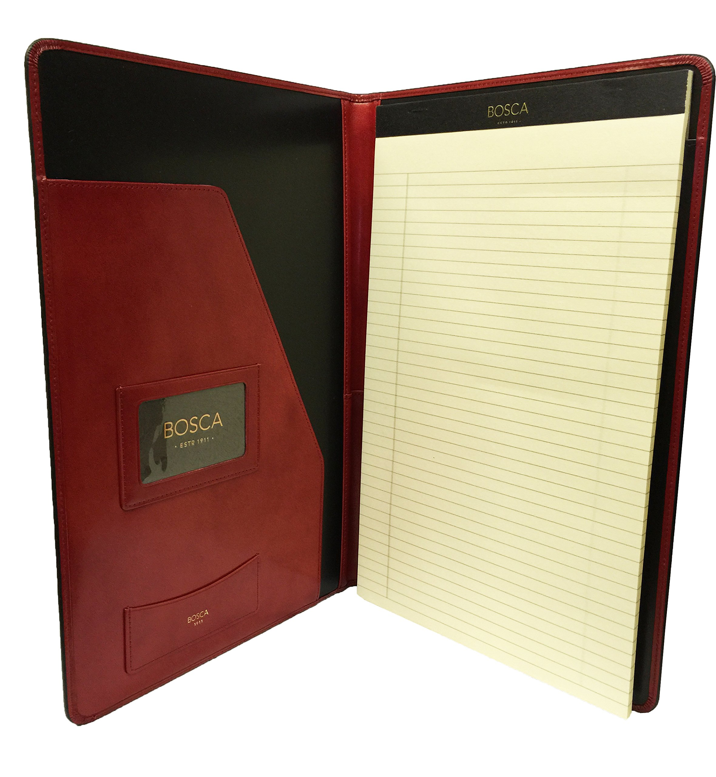 Bosca Old Leather 8 1/2 x 14 Legal Size Writing Pad Cover - Red