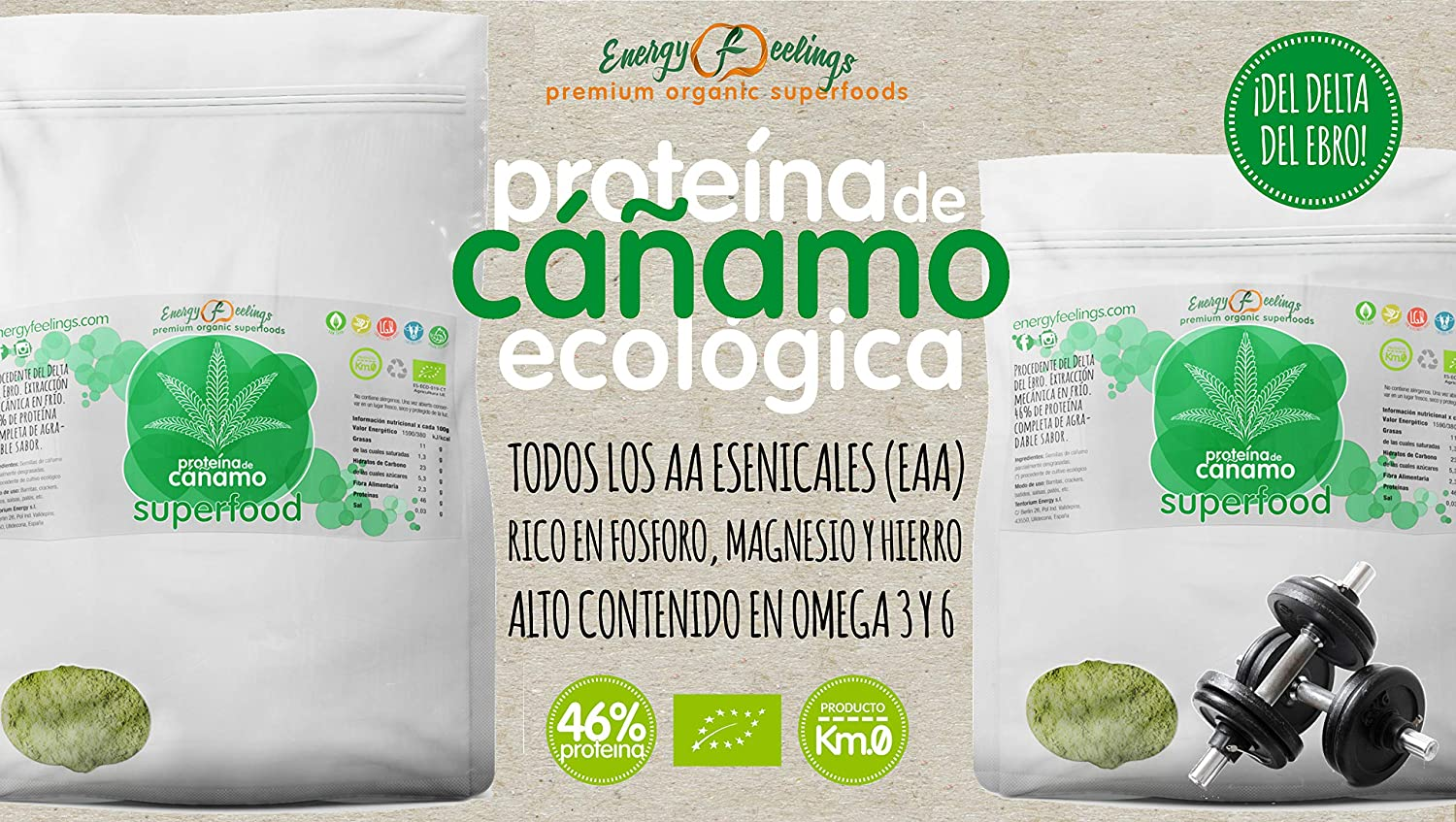 Energy Feelings Proteína de Cáñamo Eco - 1000 gr