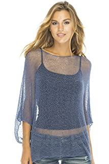 44184371b3bedf Back From Bali Womens Sheer Blouse Top Lightweight Knit Shrug Sweater Poncho