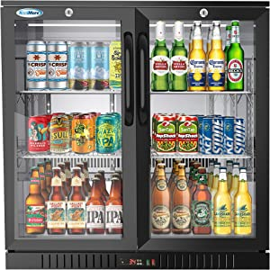KoolMore 2 Door Back Bar Cooler Counter Height Glass Door Refrigerator with LED Lighting - 7.4 cu.ft, Black