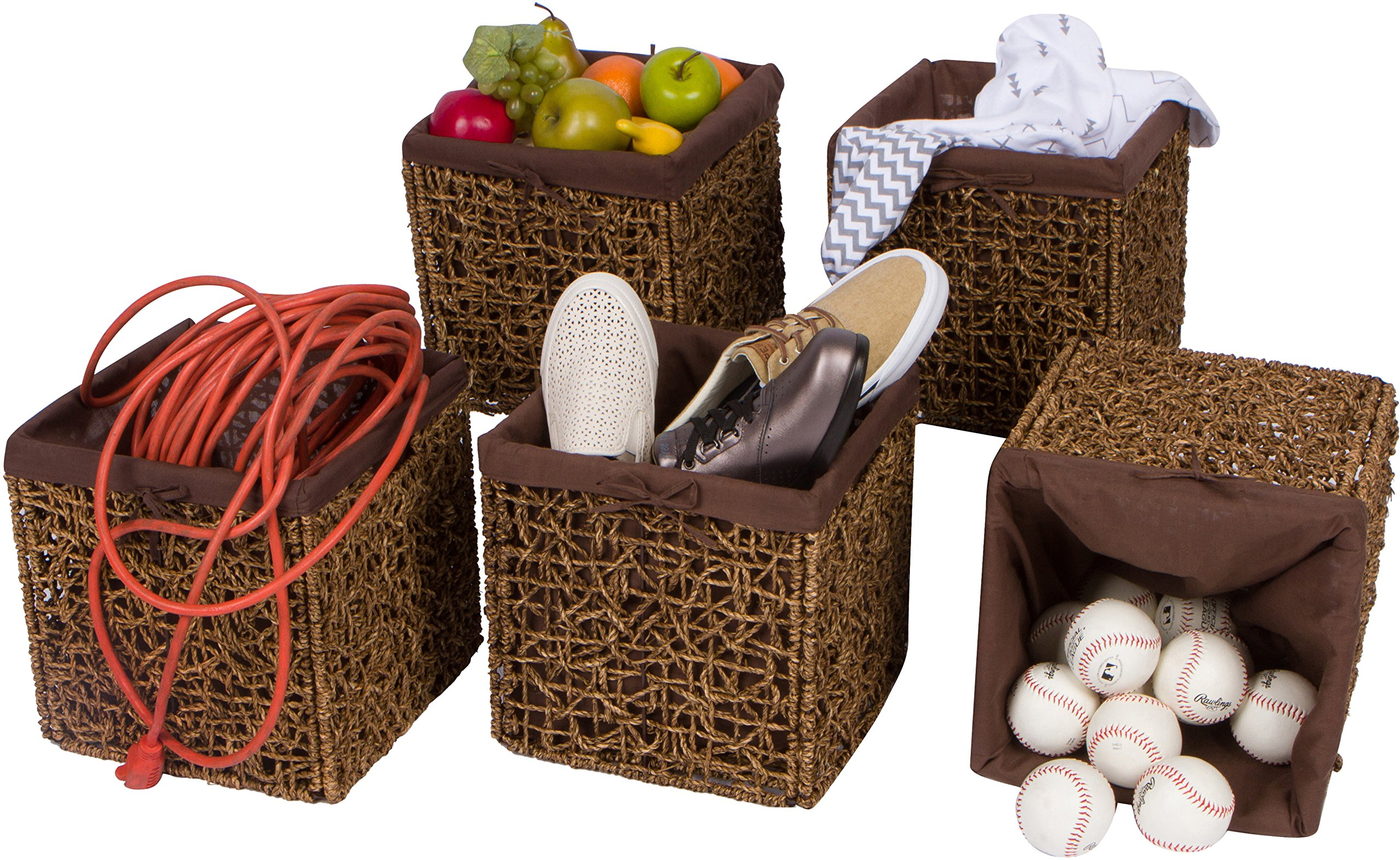 "Trademark Innovations 10.6"" Foldable Seagrass Storage Basket with Liner and Iron Wire Frame (Set of 5) - Each basket measures 10.6""L x 10.6""W x 10.6""H and comes as a set of 5 Made from beautiful seagrass over an iron wire frame with fabric liner. Color may vary slightly Folds flat for easy storage - living-room-decor, living-room, baskets-storage - 91DopoopAvL -"