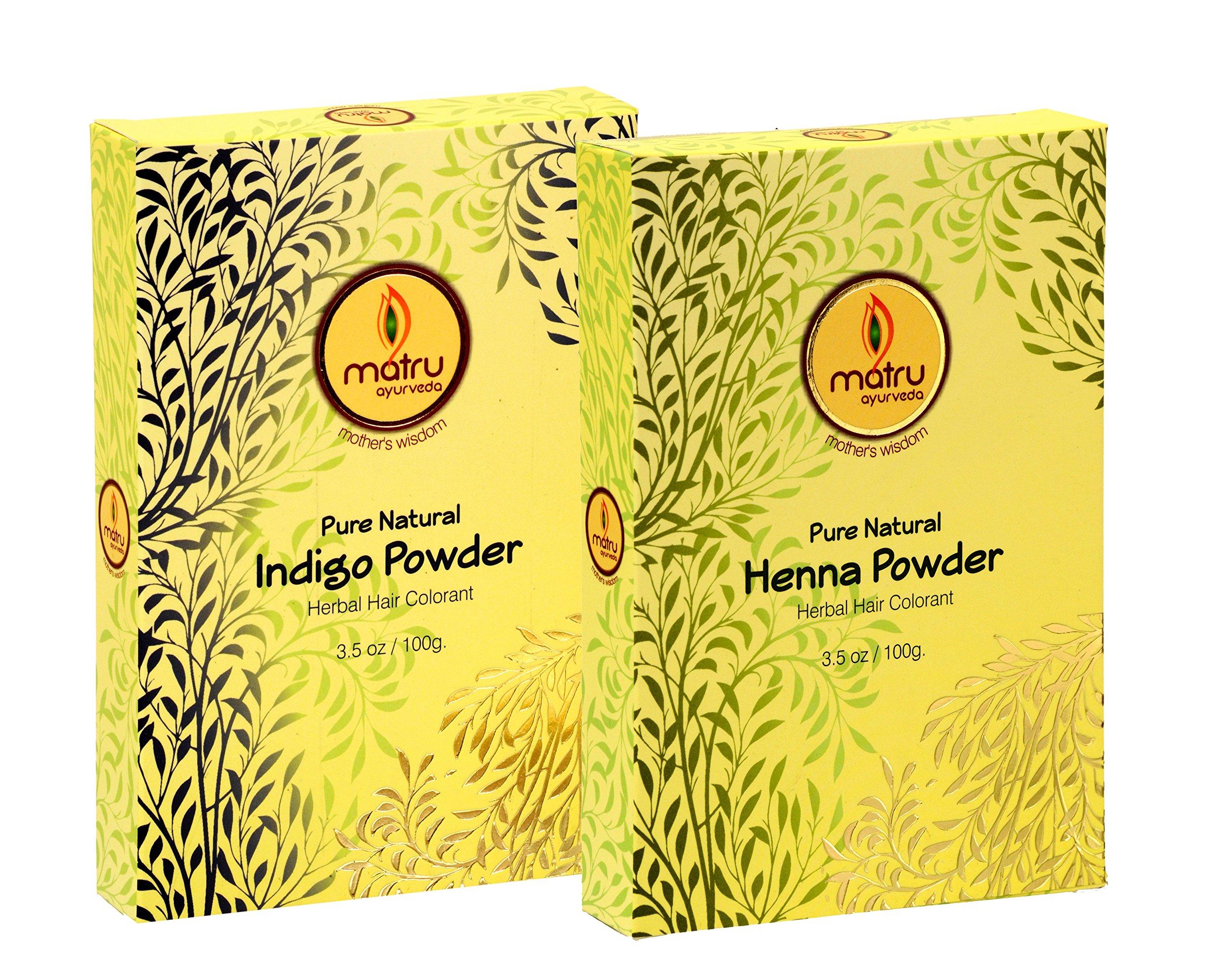 MATRU AYURVEDA Mehndi/Henna(100gms)+Indigo(100gms) Powder Ayurvedic/Herbal Hair and Beard Dye/Color Kit. 100% Pure and Natural; Chemical Free Hair and Beard Color/Dye; Covers Gray Hair, (single)