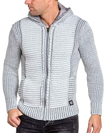 7e9dd32307108 BLZ Jeans Gilet homme écru gris zippé à capuche - couleur: Ecru - taille: