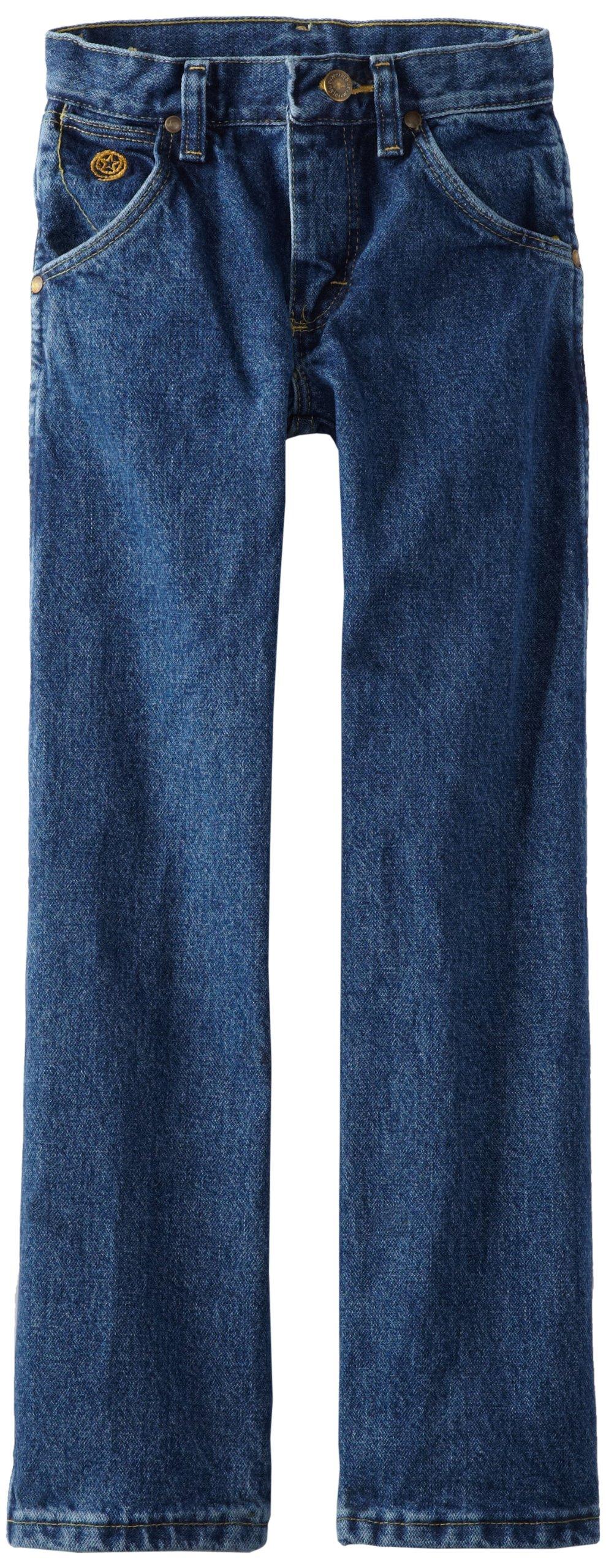 Wrangler Little Boys' Original Cowboy Cut George Strait Jeans, Heavy Denim Stone, 5 Slim