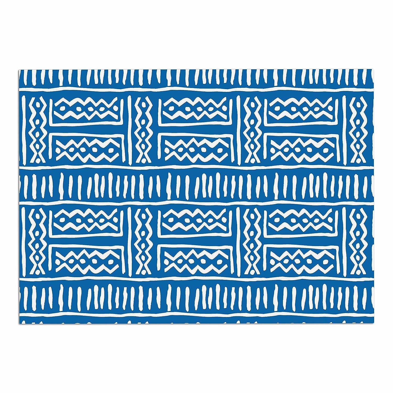 KESS InHouse Dan Sekanwagi Lines & Zigzags  bluee Tribal Dog Place Mat, 13  x 18