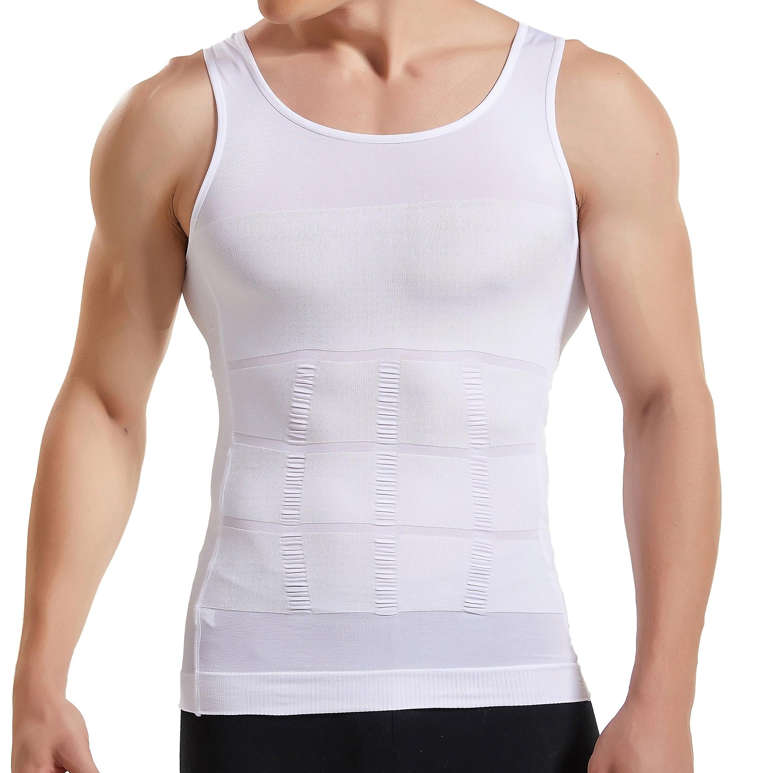 Hanerdun Mens Slimming Body Shaper Vests Undershirt Abs Abdomen Slim, White, Large by HANERDUN