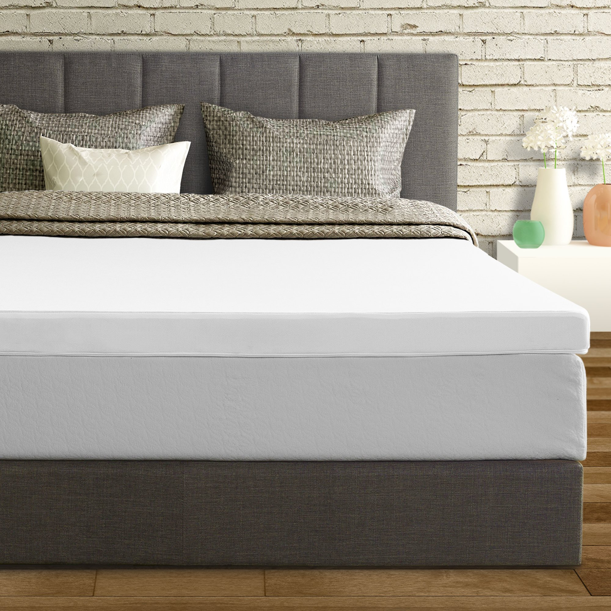 Mattress Topper Short Queen Size 3 Inch Memory Foam Bed Cover