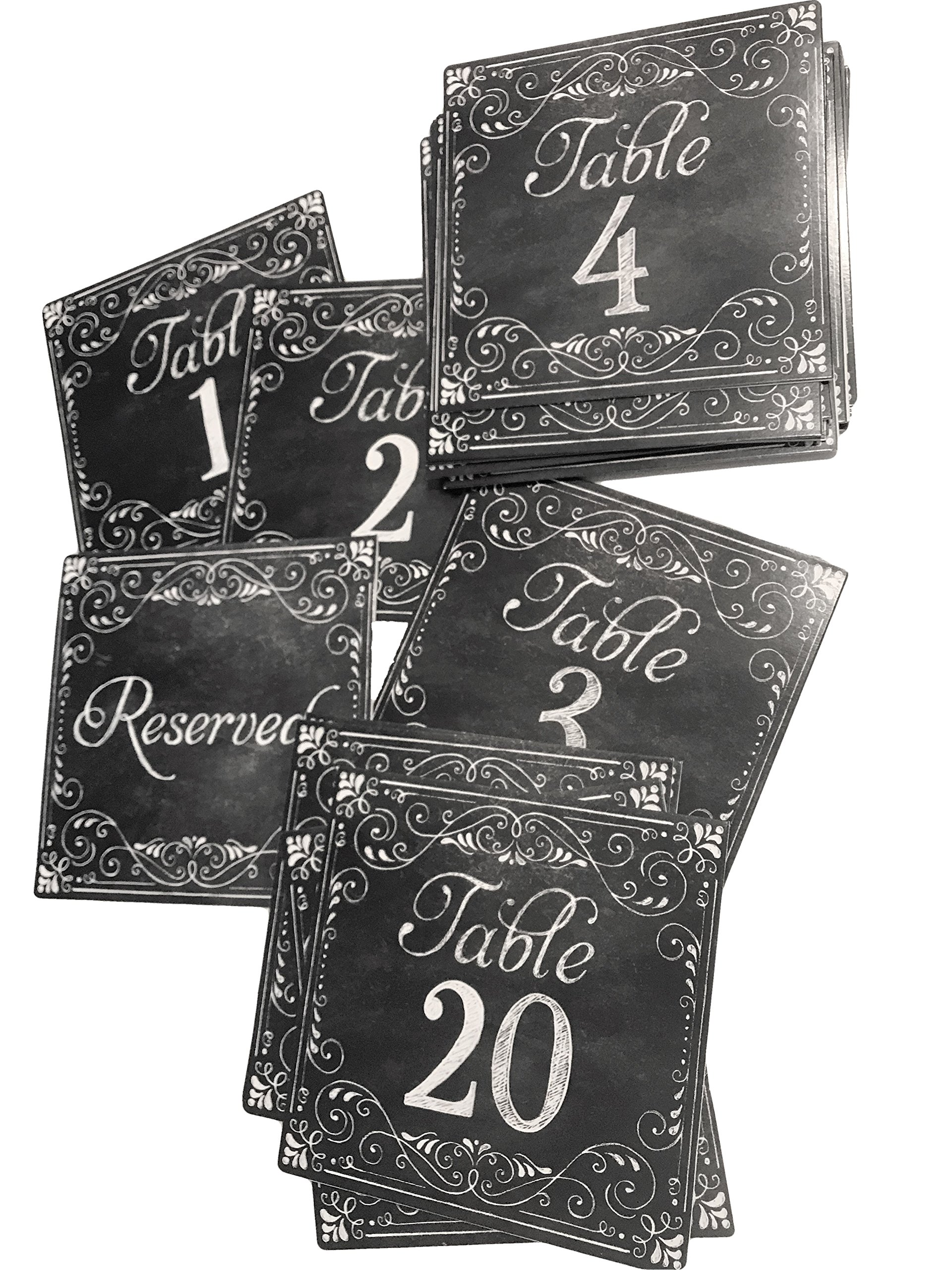 Chalk Board Tent Table Number Cards, Printed on Text, 1-20 plus 4 Reserved Cards by His & Hers
