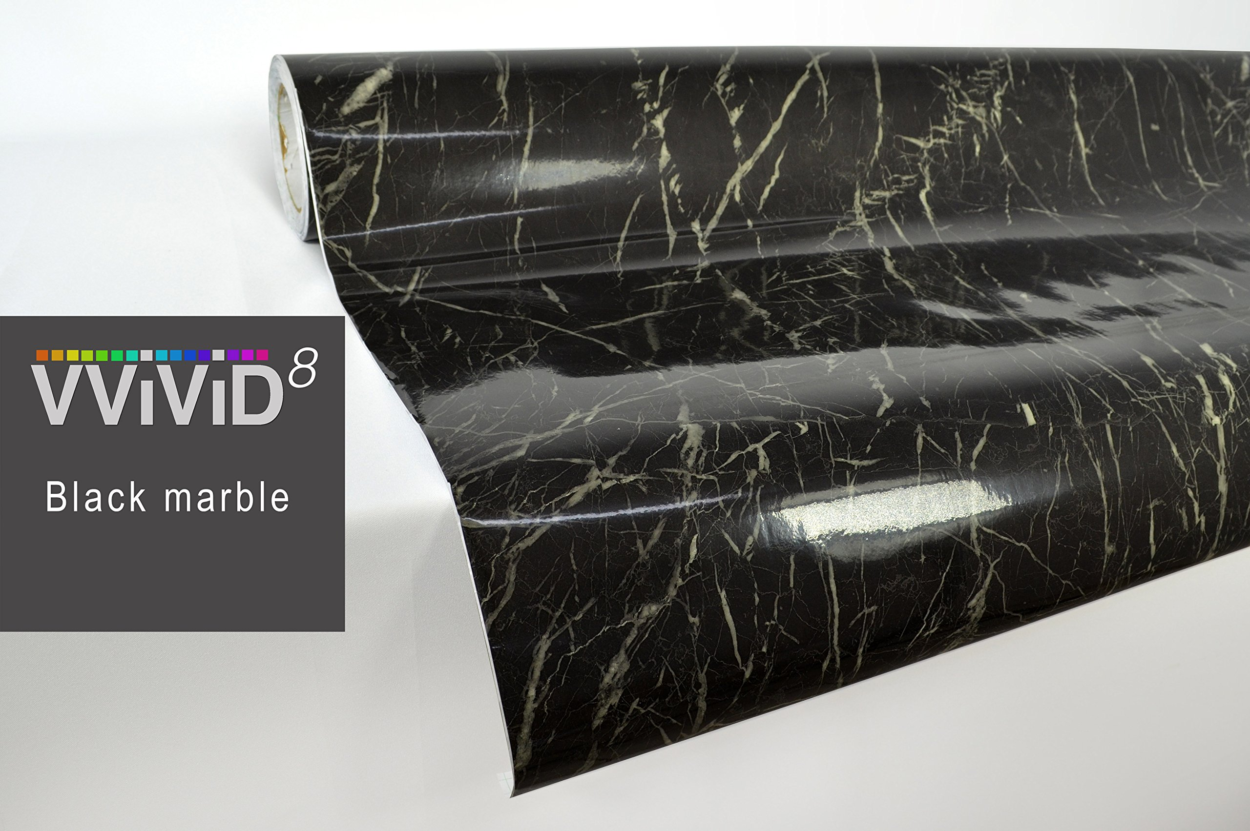 Veined Black Marble Gloss Vinyl Architectural Wrap for Home Office Furniture Wallpaper Tile Sheet Roll (6.5ft x 48'' Large roll)