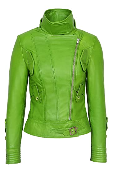 4a0daae81 Supermodel Ladies Parrot Green Rock Biker Style Designer Real Napa ...