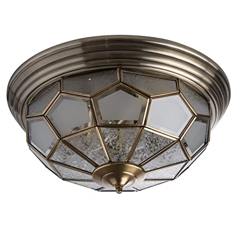 Lámpara de techo lámpara de techo latón mate cristal Tiffany ...