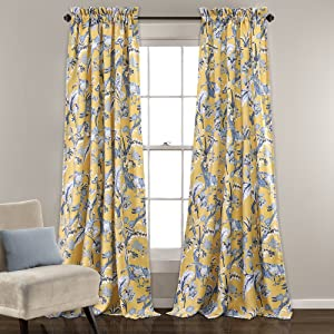 "Lush Decor Curtains Dolores Darkening Window Panel Set for Living, Dining Room, Bedroom (Pair), 84"" x 52"", Yellow"