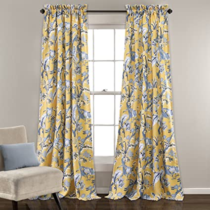 Lush Decor Curtains Dolores Darkening Window Panel Set For Living Dining Room Bedroom Pair 84 X 52 Yellow