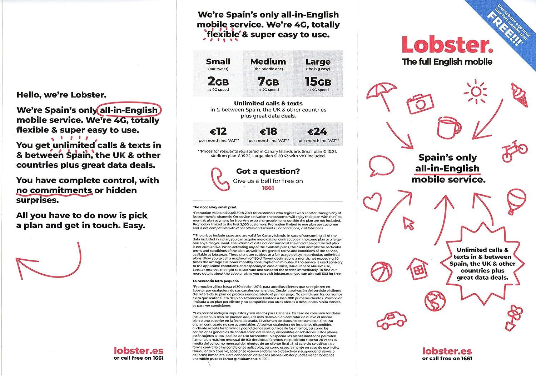 Lobster Tarjeta SIM prepago Llamadas y SMS ilimitados: Amazon.es ...