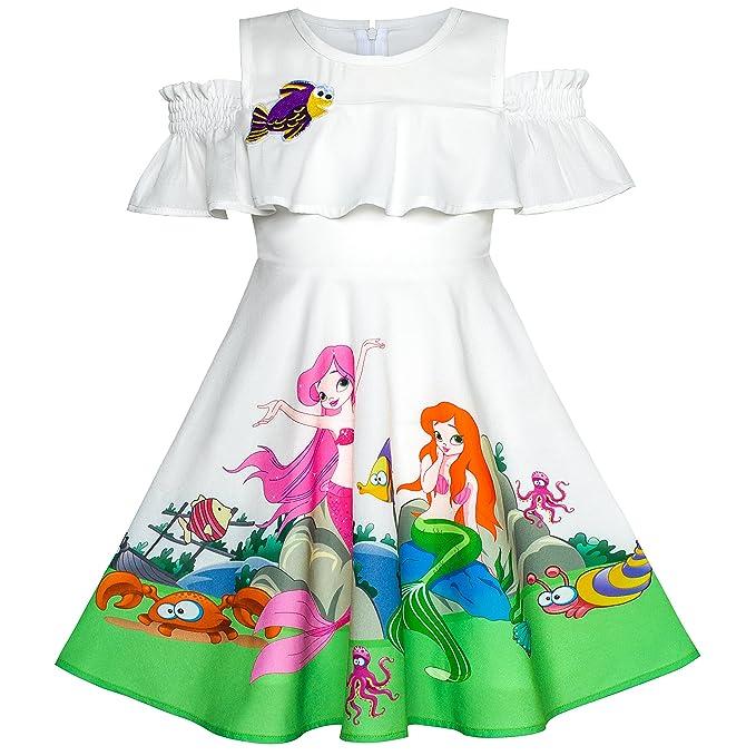 Sunny Fashion Vestido para niña Sirena Cartoon Princesa Volante Fruncido Collar Fiesta 4 años