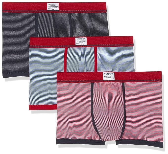 Springfield Pack 3 Rayas, Bóxer para Hombre, Rojo (Red), Small (