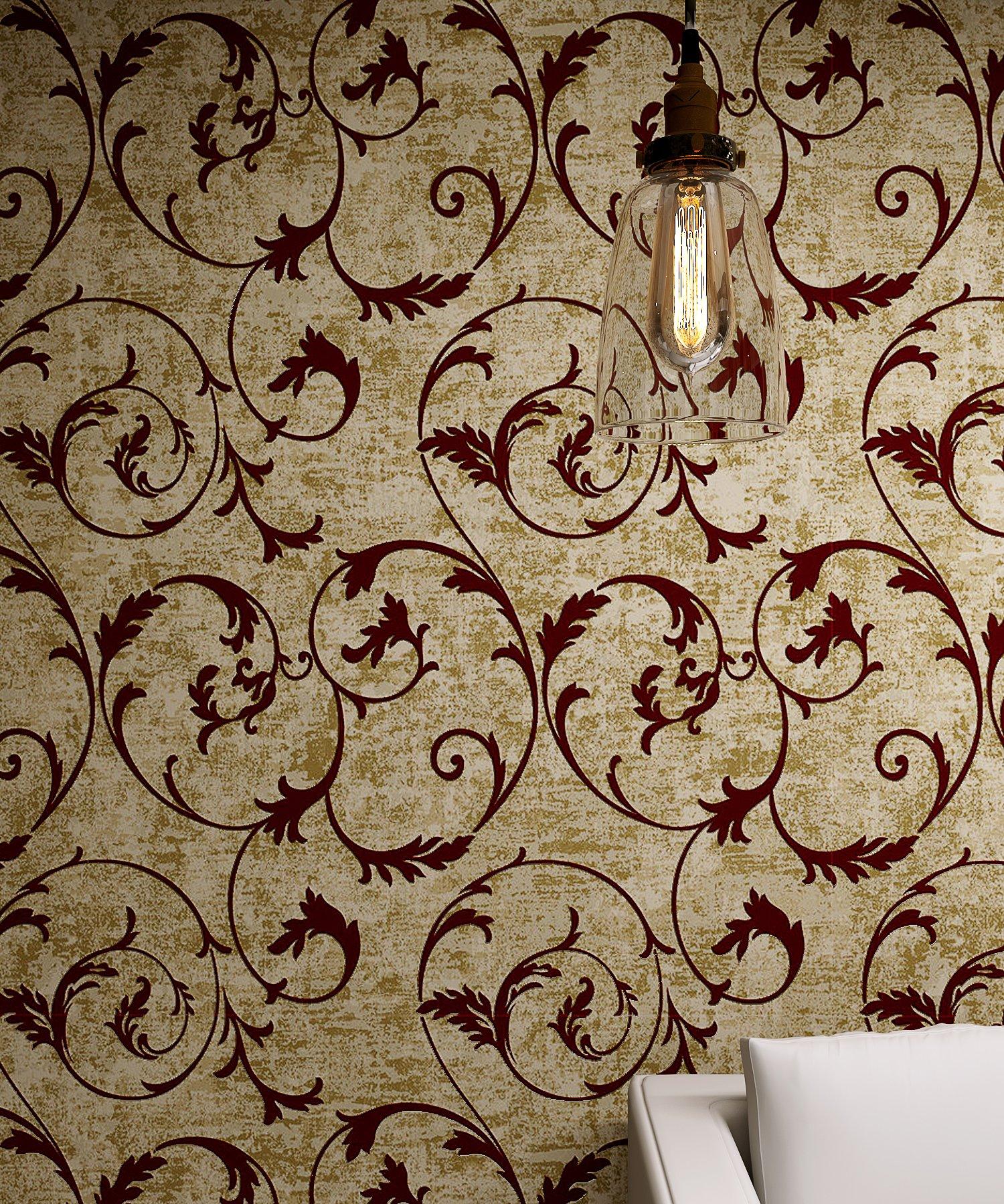 Bronze Golden Burgundy Vintage Curly Grass Velvet Flocking Wallpaper by LS