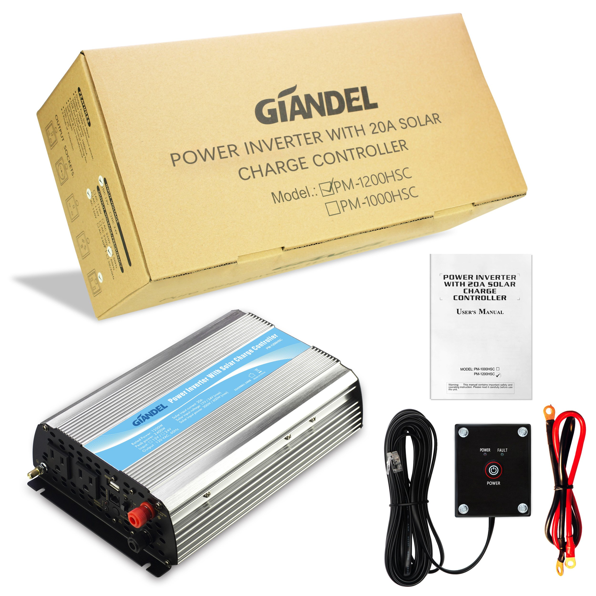 Giandel 1200Watt Power Inverter 12V DC to 110V 120V AC with 20A Solar Charge Controller Remote Control Dual AC Outlets & USB Port for RV Truck Solar System by Giandel (Image #5)