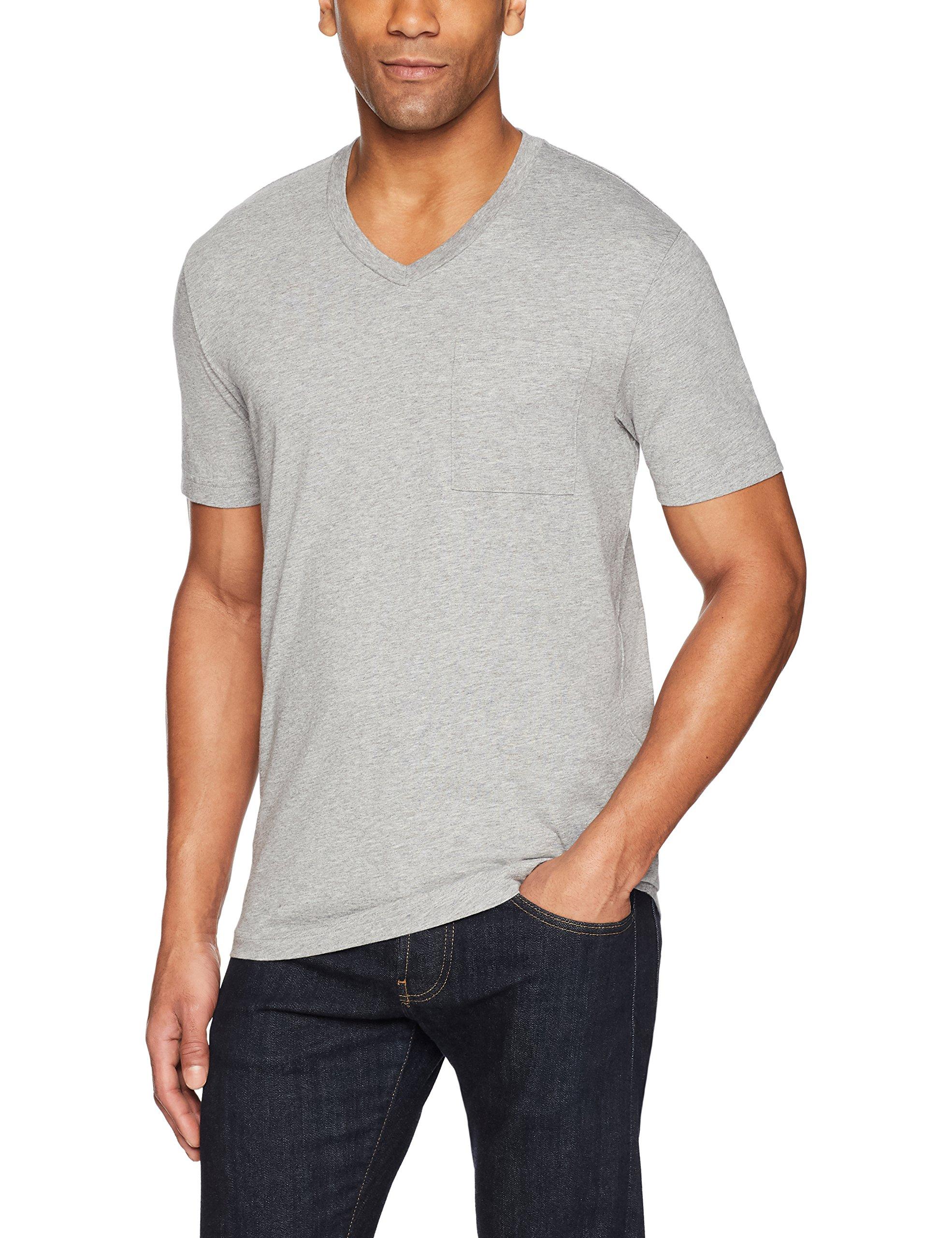 Goodthreads Men's Short-Sleeve V-Neck Cotton T-Shirt, Heather Grey, X-Large by Goodthreads (Image #3)