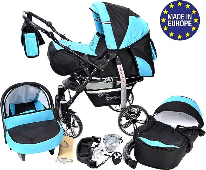 Sportive X2 - Landau pour bébé + Siège Auto - Poussette - Système 3en1 + Accessoires (Système 3en1, noir, turquoise)