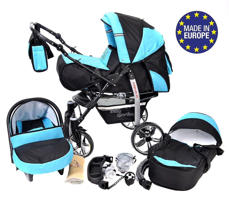 Sportive X2 Sistema de viaje 3 en 1 RUEDAS GIRATORIAS y accesorios Sistema de viaje 3 en 1, negro, turquesa carrito con capazo y silla de coche silla de paseo