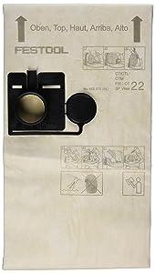 Festool 456870 Cloth Filter Bag for Ct 22 Model, 5-Pack
