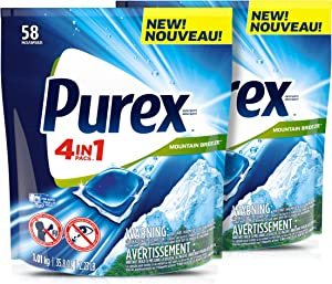 Purex 4-in-1 Laundry Detergent Pacs, Mountain Breeze, 58Count, Pack of 2, Total Loads, 116, 116Count