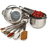 Stainless Steel Measuring Cups and Measuring Spoons Set of 12,  Best Kitchen Gadgets, Sturdier than Glass or Plastic Cups, Narrow Rectangular Spoons, Stackable and Nesting, Includes eBook