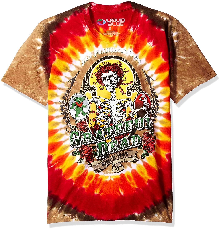 Liquid Blue Mens Grateful Dead Bay Area Beloved Tie Dye Short Sleeve T-Shirt Liquid Blue Young Men' s 11325-T Dy/Mlt-S