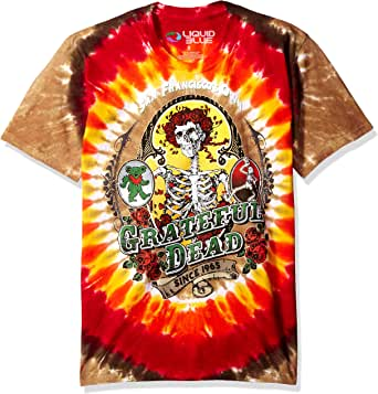 Liquid Blue Men's Grateful Dead Bay Area Beloved Tie Dye Short Sleeve T-Shirt