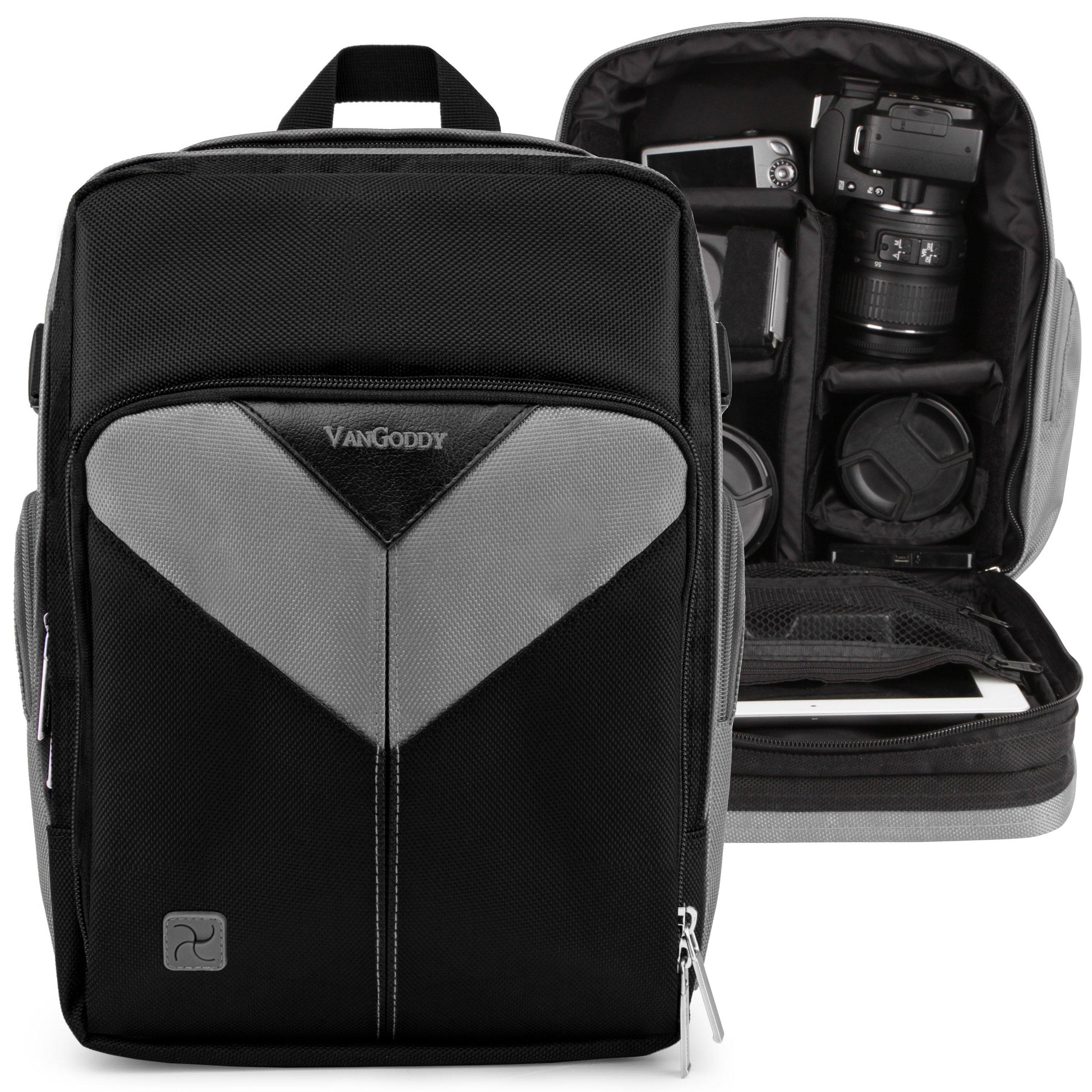 VanGoddy Sparta Ash Gray Camera Backpack Suitable for Canon XA11, XA15, XA10, XA35, XA30, XA20, XC15, XC10, XF400, XF405, XF205, XF200, XF105, XF100, VIXA HF G20, G40, G21, GX10 by Vangoddy