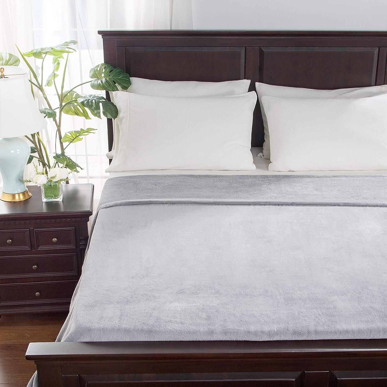 Berkshire Blanket Velisse Blanket | Ultra Soft Cozy Plush Bed Blanket | Heavyweight Warmth | Pebble Grey | Full/Queen (90