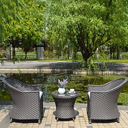 Joveco 3 Piece Outdoor Patio Wicker Ratten Coffee Dining Table Set Egg Chair  With Cushion